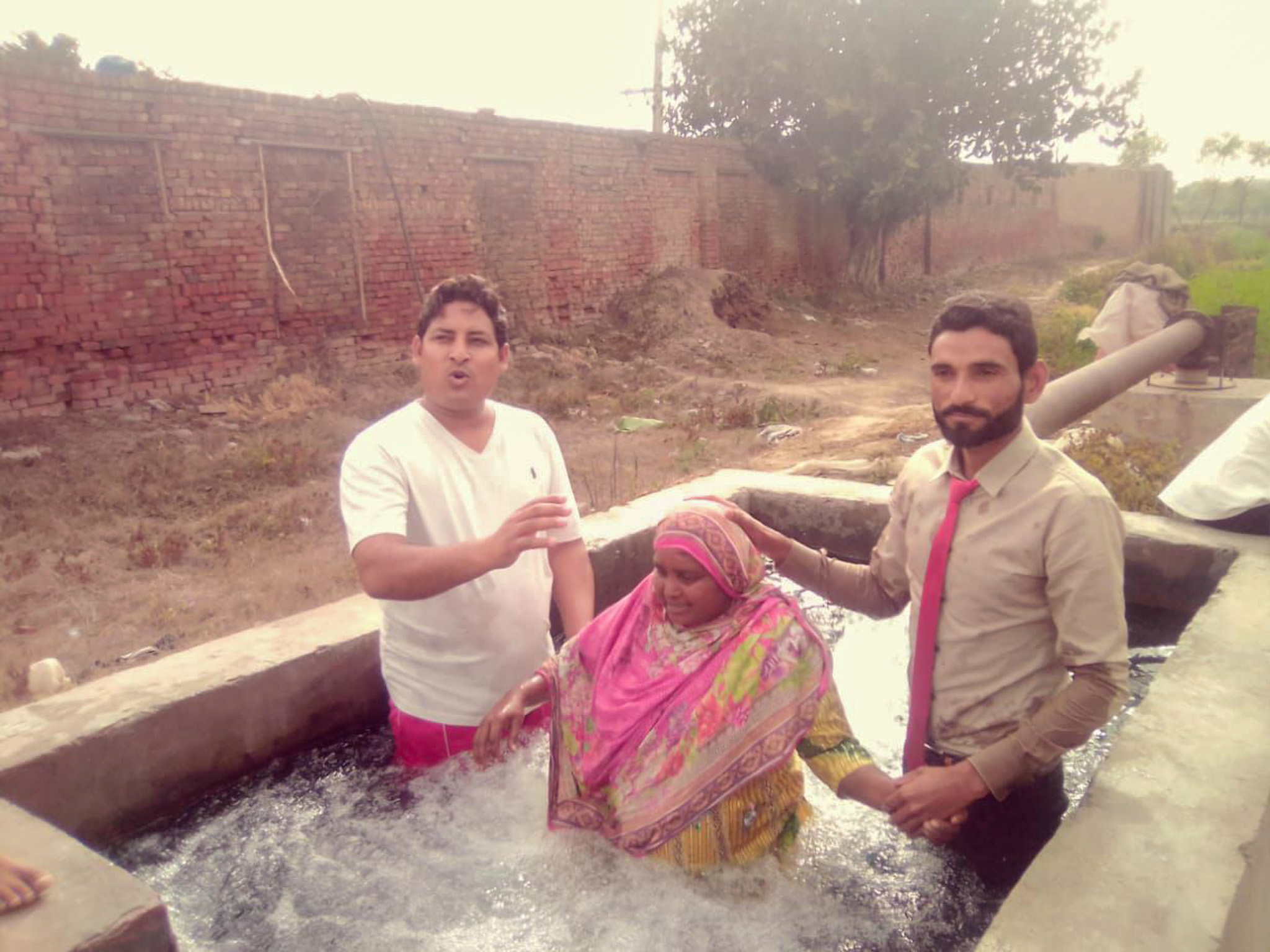 Baptisms with families of brick-kiln workers